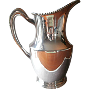Silver Water Pitcher Antique 1910s Bead Rim On Copper