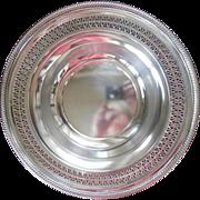 Silver Serving Bowl Pierced Rim Vintage Wm. Rogers