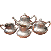 Victorian Tea Set Tufts Antique Silver Assyrian Teapot 4 Pieces