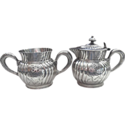 Monogram T Silver Syrup or Cream Pitcher Sugar Bowl Victorian Antique