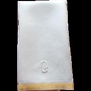 Monogram Q Damask Towel Antique 1910s Linen Yellow Bands