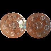 Star Cut Glass Under Plates Bread Plates 2 Antique