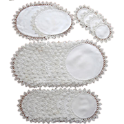 1910s Tatted Lace Trim Antique Luncheon Doily Set TLC