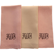 Monogram M N F Set 3 Guest Towels Vintage Linen Coral Yellow