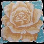 Linen Hankie Aqua Yellow Huge Rose Vintage