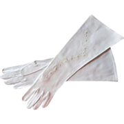 Embroidered Gloves Cutwork Vintage Long White Unused Daisy
