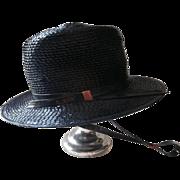 Navy Blue Gaucho Hat Vintage Original Tag Cello Straw