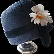 Hat Blue Bucket Vintage Navy Daisies Velvet Ribbon Union