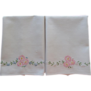 Pair Towels Hand Embroidery Pink Blue Flowers Cotton