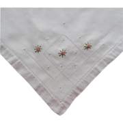 SOLD Tea Tablecloth 1920s Vintage Pink Little Roses Embroidery