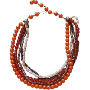 Kramer Glass Beads Necklace Vintage Orange TLC
