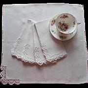 Napkins Lace Linen Simple Luncheon Vintage 1950s
