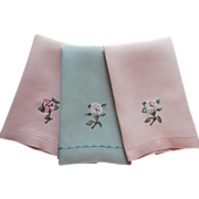 Linen Towels Peach Green Vintage Camellia Flowers Embroidery