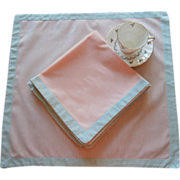 Napkins Peach Cotton Green Frames Vintage Set 6 Perfect For Summer