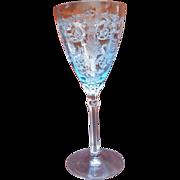 Fostoria Versailles Water Azure Blue Wine Stem Glass Goblet