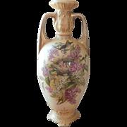 Antique Vase Birds Nest Lilacs Royal Wettina Austria China