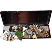 Antique Sewing Items In Lacquer Fan Box Buttons Ribbon Beads Etc