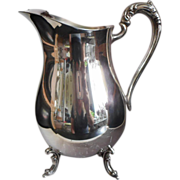 Silver Water Pitcher Vintage Oneida Footed