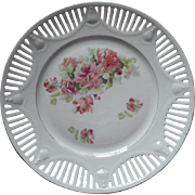 Pink Roses China Hanging Plate Antique Reticulated Pierced