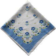 Tea Tablecloth Linen Print Printed Vintage Blue White Yellow Aqua