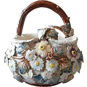 Barbotine Majolica Basket Large Size Antique Pottery Flowers Leaves