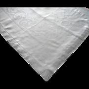 Damask Tablecloth Vintage Linen ca 1920 Classical Motifs Hemstitched