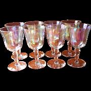 Luster Stemware Wine Glasses Vintage Set 8 Iridescent Optic Rib