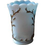 Blue Milk Glass Antique Vase Tall Sugar Bowl Base