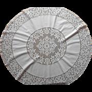 1920s Round Tablecloth Topper Vintage Cotton Filet Lace TLC
