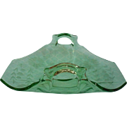 Etched Glass Green Vintage 1920s Candy Condiment Dish Tea Table