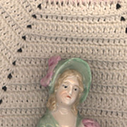 Vintage Pincushion Doll with Green Bonnet