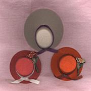 Set of Three Vintage Tiny Felt Doll Hats