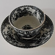 Antique: Romantic, English Staffordshire Fingerless Cup & Saucer (Tea Bowl & Saucer), Black &