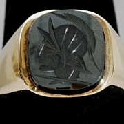 Man's 10K Yellow Gold Hematite Cameo Ring, Vintage