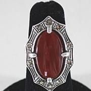 Art Deco Sterling Silver Ladies Marcasite Carnelian Ring, Vintage