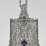 14K White Gold Pendant & Chain, Vintage