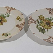 Antique Pair of Old Ivory Porcelain Plates, Poppy Pattern, # 122