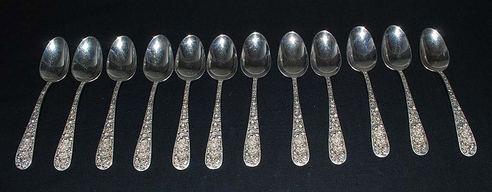 Antique Sterling Silver Stieff Teaspoons, Set of 12