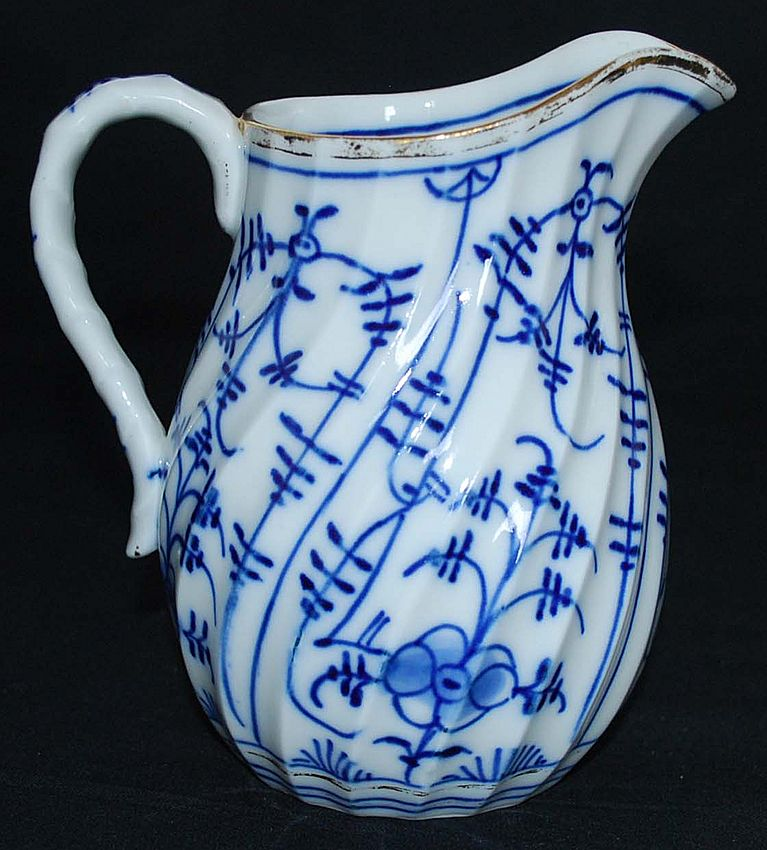 Antique Porcelain Blue and White Cream Pitcher