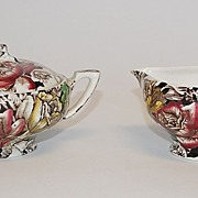 Chintz Cream & Sugar, Myott, Son & Co., Vintage
