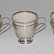 Sterling Silver Demi-Tasse Holders with Lenox Inserts (5), Vintage