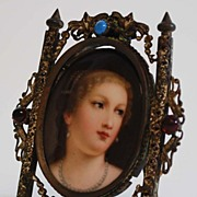 Antique Miniature Painting on Porcelain, Framed