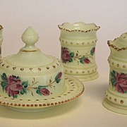 Heisey Custard Glass Breakfast Set, Signed, Antique