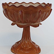 Antique Chocolate Slag Glass Compote