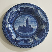 Vintage Staffordshire Blue & White Plate, Pottery