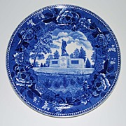 Vintage Wedgewood Blue and White W.W. Memorial Plate, Maine, Pottery