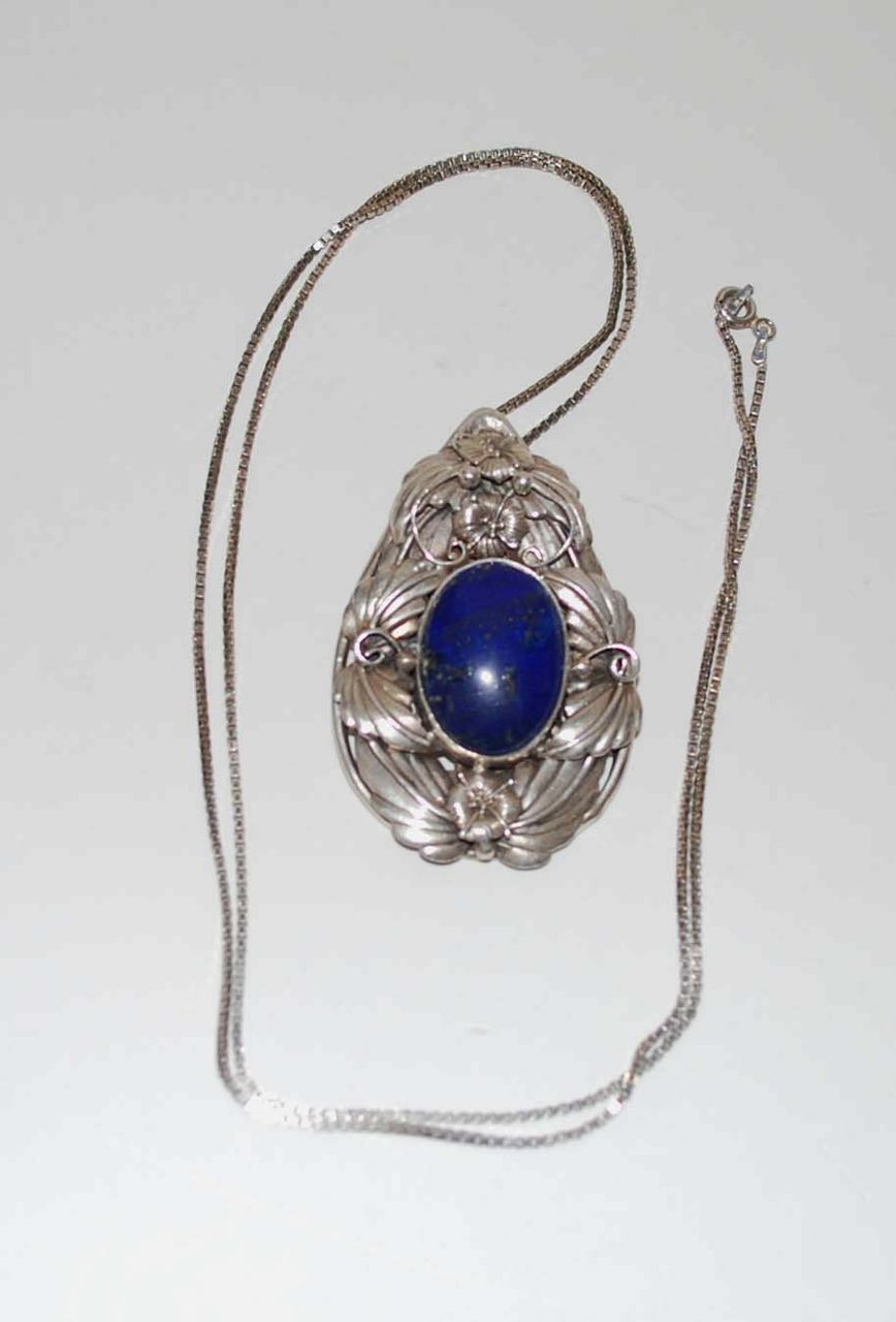 Lapis Pendant, Sterling Silver with Chain, Vintage