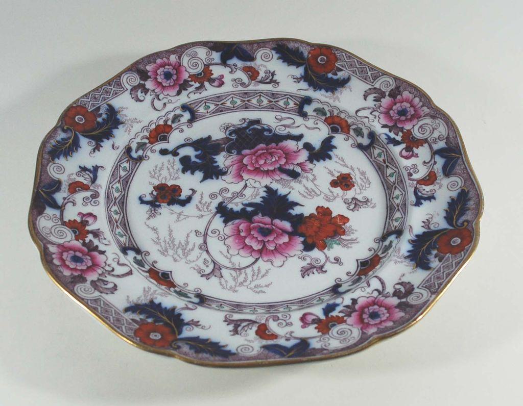 Antique Set of Six (6) Porcelain Dinner Plates, Cauldon