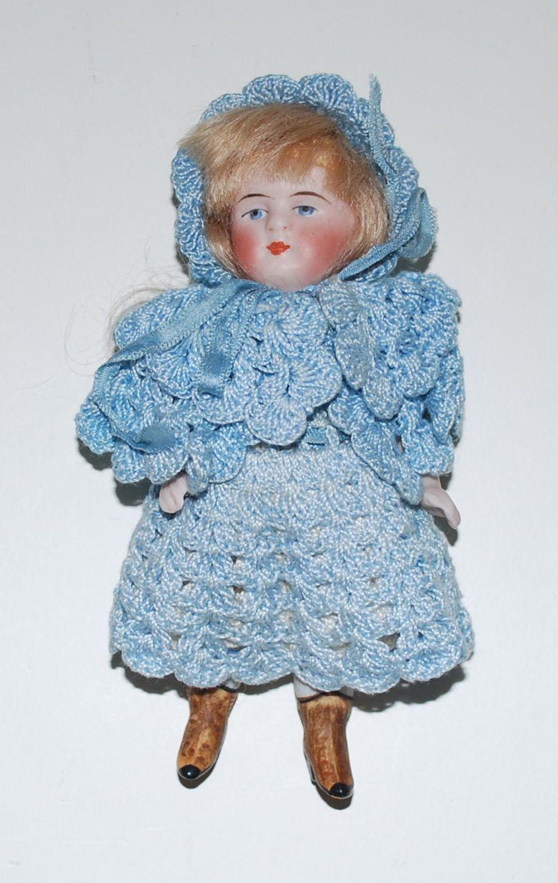 "Antique German Bisque Doll, 5"" Tall"