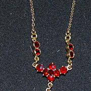 14K Gold Ladies Garnet Pendant, Vintage